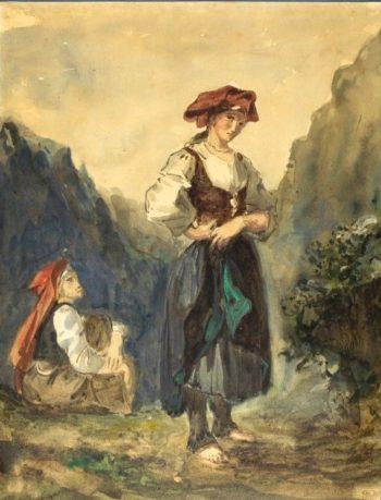 Peasant Women from the Region of the Eaux-Bonnes   Eugene Delacroix   Oil Painting