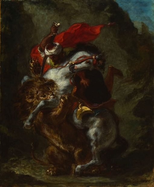 Arab Horseman Attacked by a Lion | Eugene Delacroix | Oil Painting