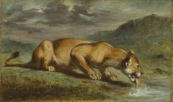 Wounded Lioness | Eugene Delacroix | Oil Painting