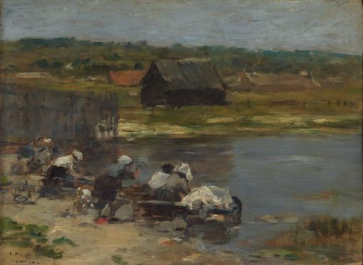 Washerwomen at the Edge of a Pond | Eugene Louis Boudin | Oil Painting