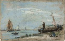 Beach with Fishing Boats | Eugene Louis Boudin | Oil Painting