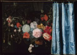 Trompe l'Oeil Still Life with a Fower Garland and a Curtain | Frans van Mieris the Elder | Oil Painting