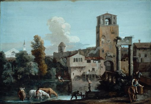 Capriccio with Horses Watering in a River Outside a Walled Town | Marco Ricci | Oil Painting