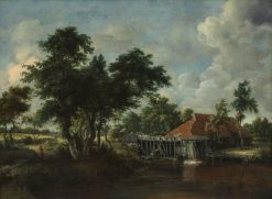 The Watermill with Great Red Roof   Meindert Hobbema   Oil Painting