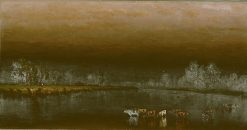 Cows in a Pond at Sunset | Sanford Robinson Gifford | Oil Painting
