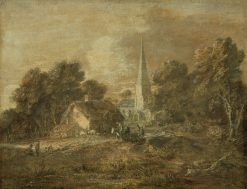 Wooded Landscape with Village Scene | Thomas Gainsborough | Oil Painting