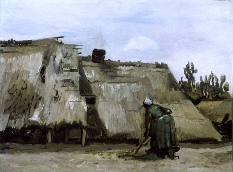 A Peasant Woman Digging in front of Her Cottage | Vincent van Gogh | Oil Painting