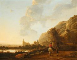 A River landscape with a Horseman on a Road | Aelbert Cuyp | Oil Painting