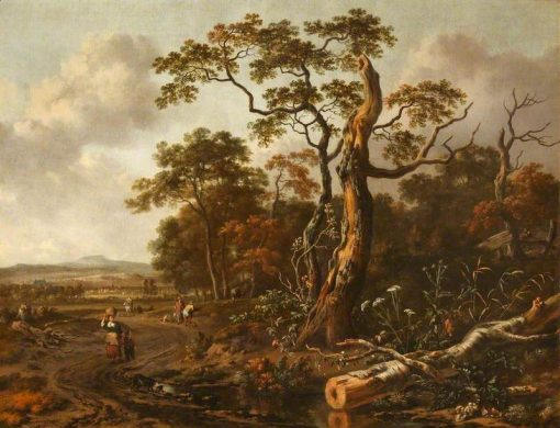 Figures on a Road by a Wood   Jan Wijnants   Oil Painting