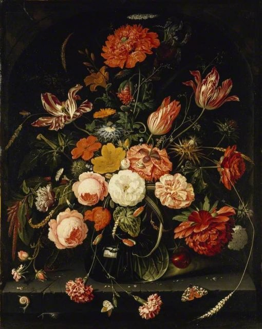 Vase of Flowers with Two Carnations   Abraham Mignon   Oil Painting