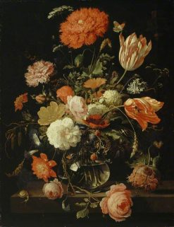 A Carafe of Flowers with Blackberries | Abraham Mignon | Oil Painting