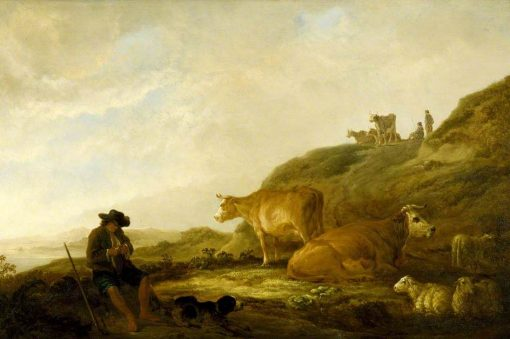 Seated Shepherd with Cows and Sheep in a Meadow | Aelbert Cuyp | Oil Painting