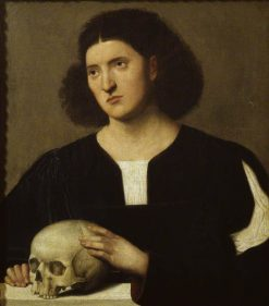Portrait of a young Man with a Skull | Bernardino Licinio | Oil Painting