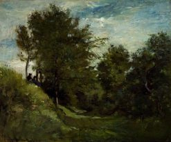 Landscape with Figures Seated on a Bank | Charles Francois Daubigny | Oil Painting