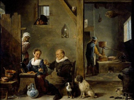 A Distillery with an Elderly Man Buying Gin from a Woman | David Teniers II | Oil Painting