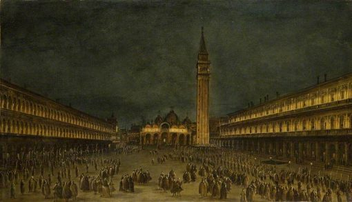 A Night Procession in the Piazza San Marco   Francesco Guardi   Oil Painting