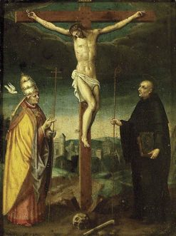The Crucifixion with Saint Gregory and a Bishop Saint | Italian School th Century   Unknown | Oil Painting