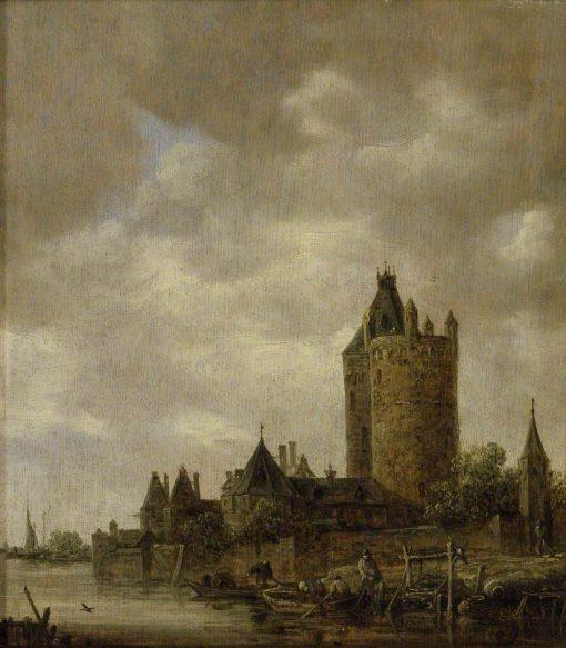 A Castle by a River   Jan van Goyen   Oil Painting
