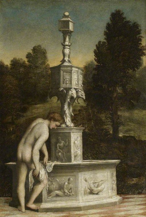 A Man Drying Himself Beside a Fountain | Paris Bordone | Oil Painting