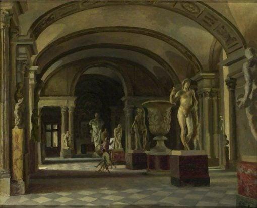La Salle des Caryatides in the Louvre   Roger Eliot Fry   Oil Painting
