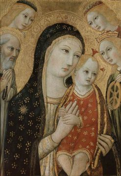 The Virgin and Child with Saints Jerome and Catherine of Alexandria and Angels   Sano di Pietro   Oil Painting