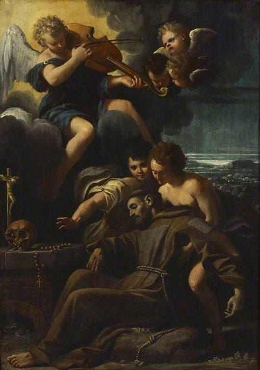 St Francis of Assisi consoled by Angels | Sisto Badalocchio | Oil Painting