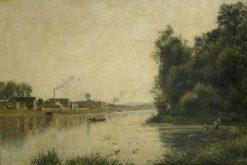 The Seine at La Garenne Saint-Denis   Stanislas LEpine   Oil Painting