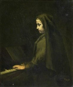 A Woman at the Piano | ThEodule Augustin Ribot | Oil Painting