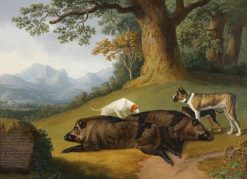 Two Views of a Dead Boar with a Mastiff and Two Other Dogs | Jakob Philipp Hackert | Oil Painting