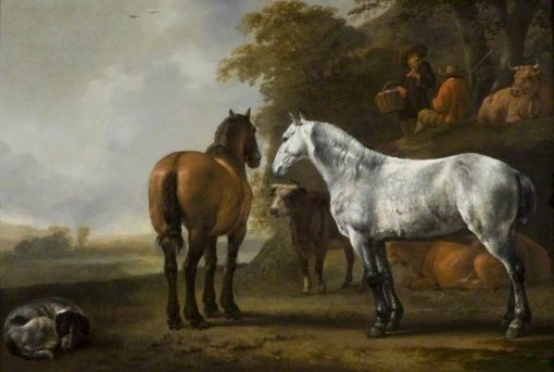 Horses and Cattle in a Landscape | Abraham van Calraet | Oil Painting