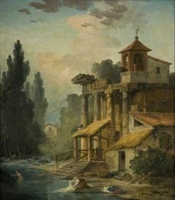A Caprice with a Hermitage | Hubert Robert | Oil Painting