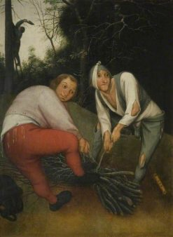 Two Peasants Binding Faggots | Pieter Brueghel the Younger | Oil Painting
