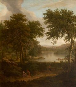 A River Landscape Flanked by Trees | George Lambert | Oil Painting