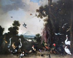Open Landscape with Poultry and Waterfowl | Melchior d'Hondecoeter | Oil Painting
