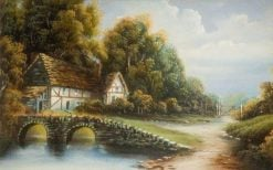 Cottage Scene | British School th Century   Unknown | Oil Painting