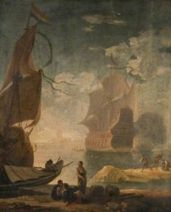 Harbour Scene with Man-of-War and Figures on a Quay | Claude Joseph Vernet | Oil Painting