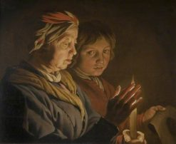 An Old Woman and a Boy by Candelight | Matthias Stomer | Oil Painting