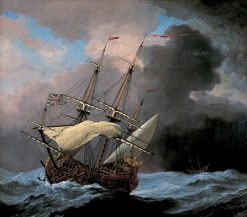 An English Ship 'Hampton Court' in a Gale | Willem van de Velde the Younger | Oil Painting