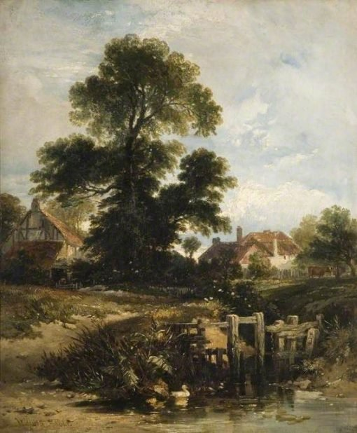View at Gillingham with Cottages | William James Muller | Oil Painting