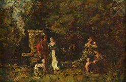 Elegant Figures in a Woodland Glade | Adolphe Joseph Thomas Monticelli | Oil Painting