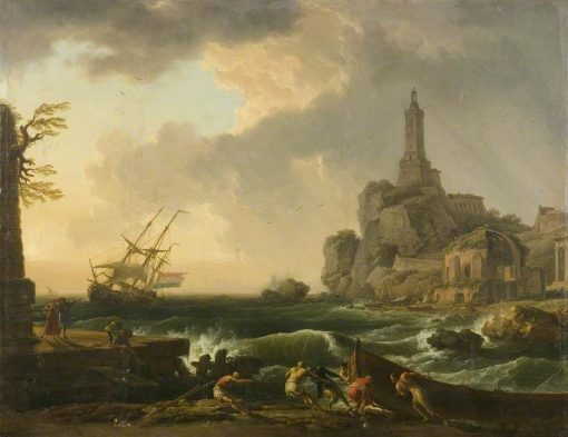 Genoa Lighthouse and the Temple of Minerva Medica | Claude Joseph Vernet | Oil Painting