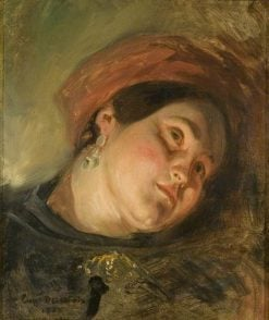 Head of a Woman in a Red Turban | Eugene Delacroix | Oil Painting