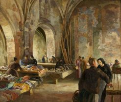 Market in a Disused Church in France | Roger Eliot Fry | Oil Painting