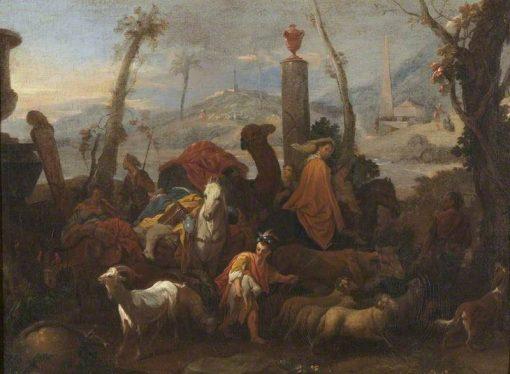 Jacob's Journey and the Pillar of Bethel   SEbastien Bourdon   Oil Painting