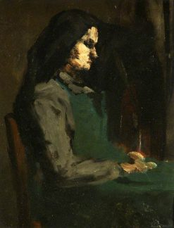 Woman with a Green Apron   ThEodule Augustin Ribot   Oil Painting