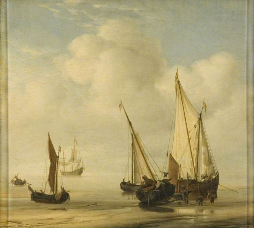 A 'Smalschip' with Sail set at Anchor Close to the Shore | Willem van de Velde the Younger | Oil Painting