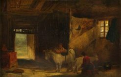 A Welsh Interior with Girl Milking a Goat | William James Muller | Oil Painting