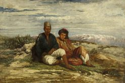 Two Arab Figures Seated | William James Muller | Oil Painting