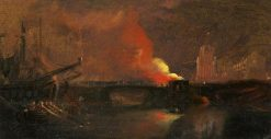 Bristol Riots: The Burning of the Toll Houses on Prince Street Bridge with St Mary Redcliffe | William James Muller | Oil Painting
