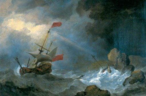 Man o' War in Distress off Rocky Coast   Willem van de Velde the Younger   Oil Painting